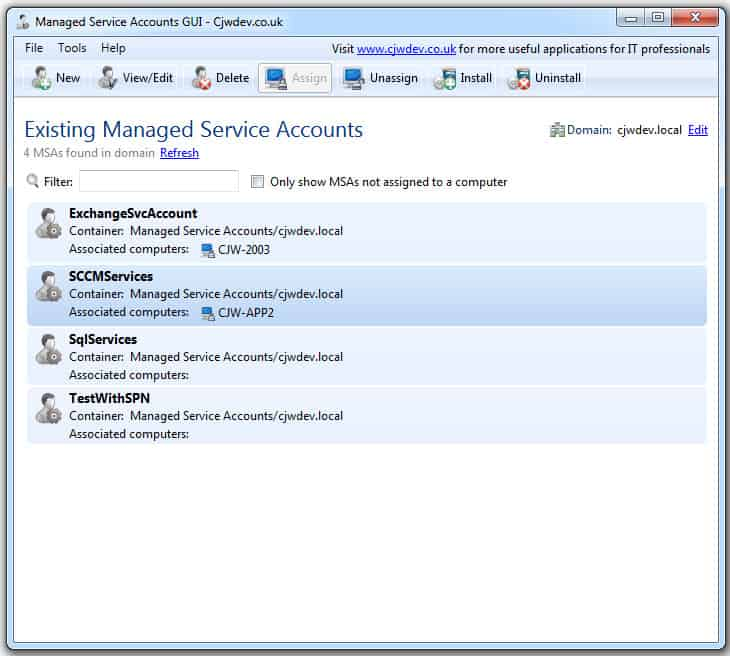create managed service accounts without powershell