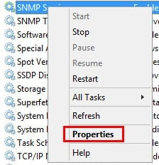 snmp services properties