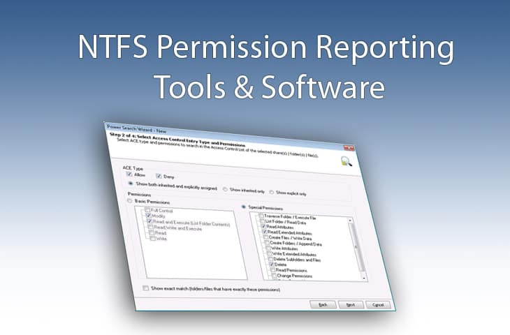 ntfs permissions reporter software and tools