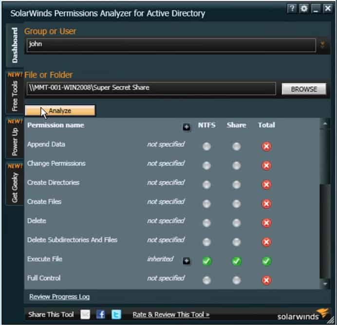 solarwinds aduc permissions analyzer